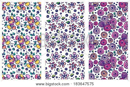 Set Of Seamless Vector Hand Drawn Floral Patterns. Backgrounds With Flowers, Leaves. Decorative Cute