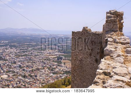 The view from the Argive fortress to the modern city of Argos. A historical place. The ancient civilization.