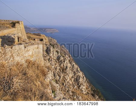 The view from Palamidi fortress to the sea. A historical place. The ancient civilization.