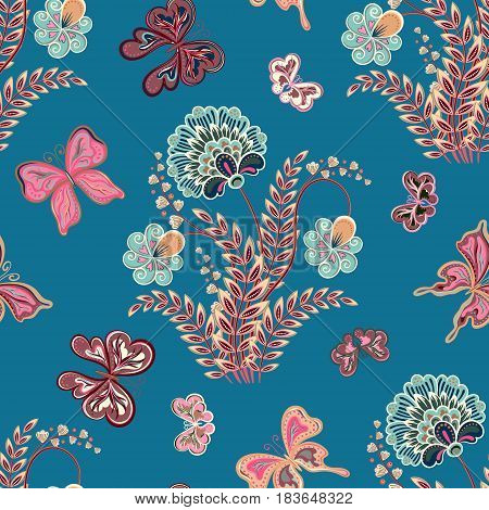 Vector illustration of seamless pattern with abstract flowers. It can be used for web page background, surface textures, textile industry and others. Punk gray on blue