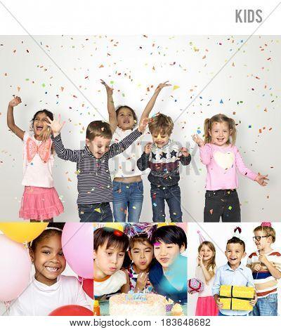 People Set of Diversity Kids Enjoy Party Studio Collage