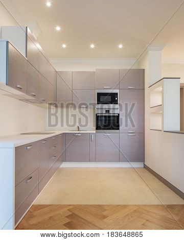 Interior of new modern fully equipped kitchen