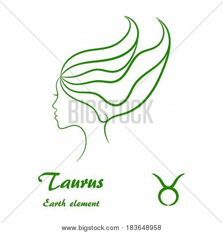 Taurus zodiac sign. Stylized female contour profile.