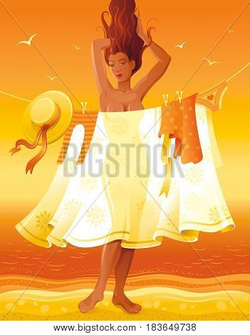 Summer people travel beach background, beautiful tan sexy nude girl. Invitation design, vintage party poster. Tropical sunset evening vector illustration. Summertime retro sand coast abstract template