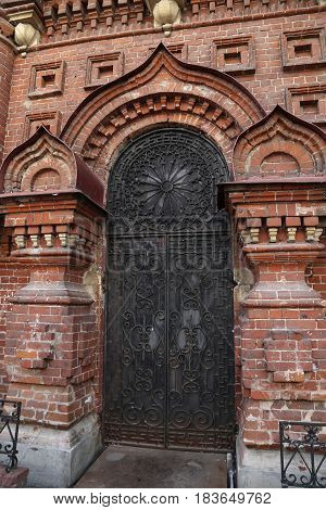 Ancient Russian architecture - the church door - Bogoyavlensky Cathedral belfry - Epiphany Cathedral - in Kazan, Tatarstan, Russia