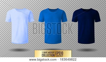 Shirt mock up set. T-shirt template. Light, normal and dark blue version, front design.