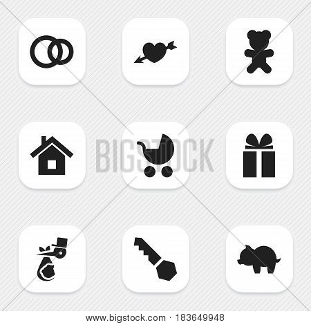 Set Of 9 Editable Family Icons. Includes Symbols Such As Perambulator, Gift, Toy And More. Can Be Used For Web, Mobile, UI And Infographic Design.