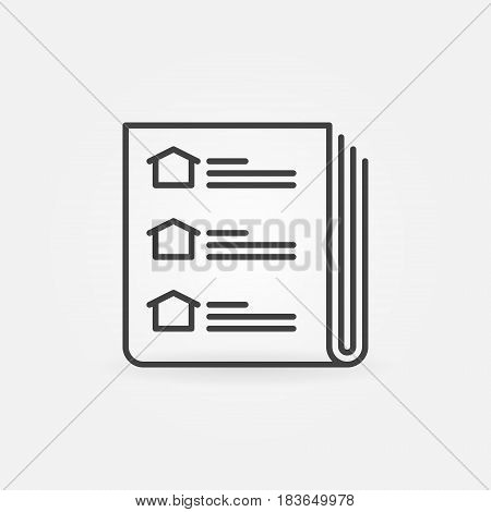 Newspaper real estate advertisments icon - vector thin line symbol or design element