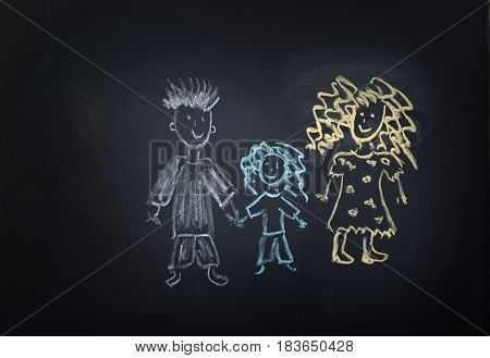 children's family drawing on a blackboard colored chalk