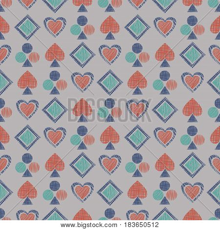 Seamless Vector Geometrical Pattern With Icons Of Playing Cards. Background With Hand Drawn Textured