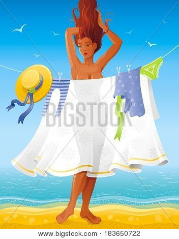 Summer people travel beach background, beautiful tan sexy nude girl. Invitation design, vintage party poster. Tropical sunny day vector illustration. Summertime retro sand coast. Abstract template