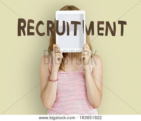 Adult woman covering her face recruitment employment