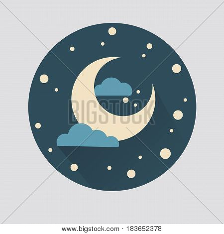 Illustration of the moon in a cartoon style. Colored.
