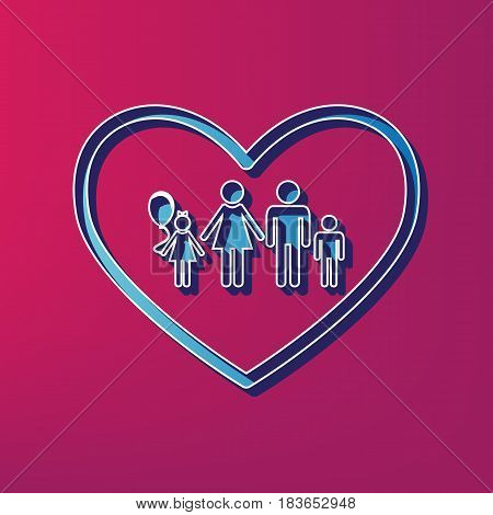 Family sign illustration in heart shape. Vector. Blue 3d printed icon on magenta background.