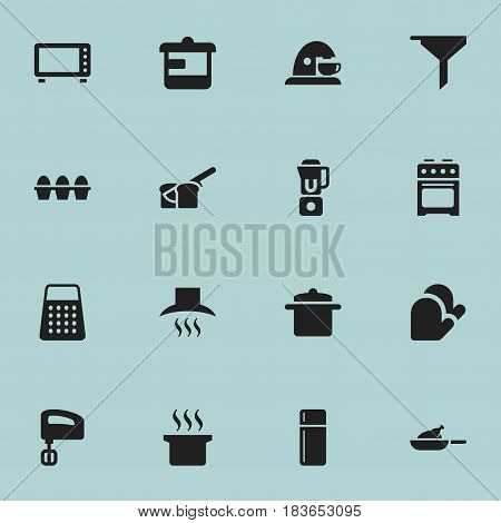 Set Of 16 Editable Cooking Icons. Includes Symbols Such As Agitator, Cup, Soup Pot And More. Can Be Used For Web, Mobile, UI And Infographic Design.