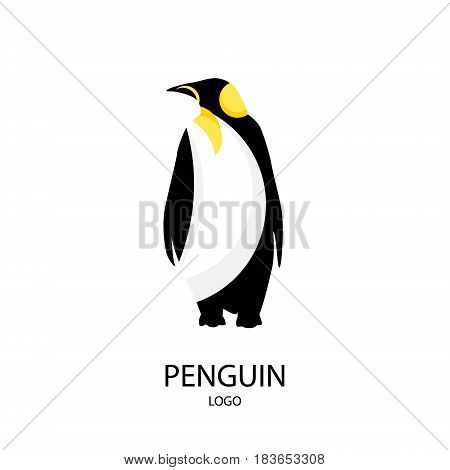 The silhouette of penguin. Logo. Flat style. Vector illustration.