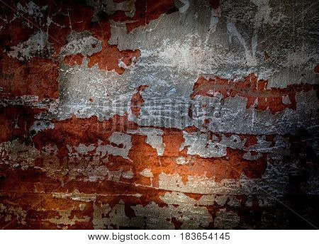 Dirty Shabby Wall In Grunge Style In Vivid Orange Color