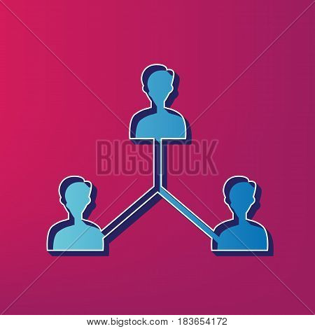 Social media marketing sign. Vector. Blue 3d printed icon on magenta background.