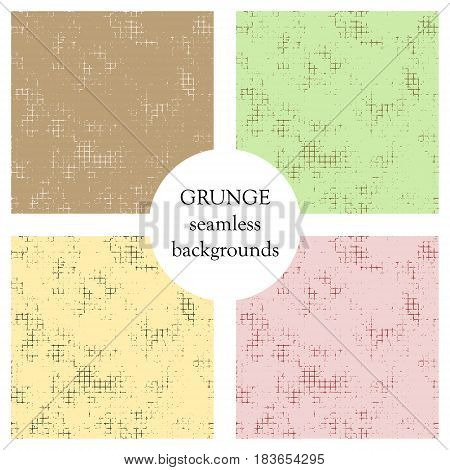 Set Of Seamless Vector Textured. Grunge Backgrounds With Attrition, Cracks And Ambrosia. Old Style V