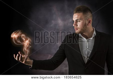 Business Man With Euro On Fire