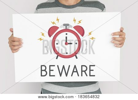 Man holding banner of alarm clock icon notification illustration