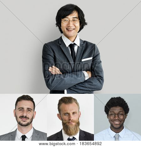 Collection of businessmen smiling in head shot
