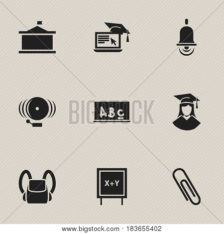Set Of 9 Editable Graduation Icons. Includes Symbols Such As Alarm Bell, Blackboard, Distance Learning And More. Can Be Used For Web, Mobile, UI And Infographic Design.