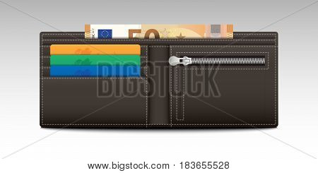 Illustration of a Wallet with Credit Cards and Banknotes