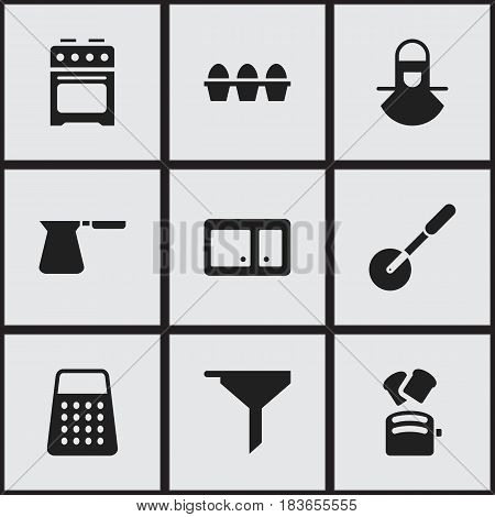 Set Of 9 Editable Cook Icons. Includes Symbols Such As Shredder, Coffee Pot, Slice Bread And More. Can Be Used For Web, Mobile, UI And Infographic Design.