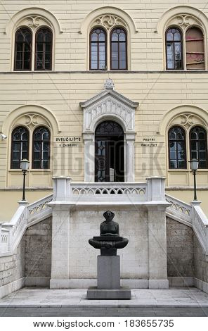 ZAGREB, CROATIA - JULY 15: History of the Croats, sculpture by Ivan Mestrovic, located in front Zagreb university building, Croatia on July 15, 2015