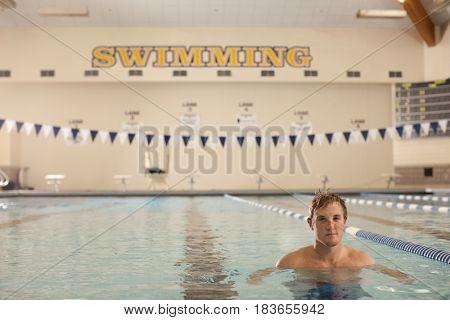 Caucasian swimmer in swimming pool