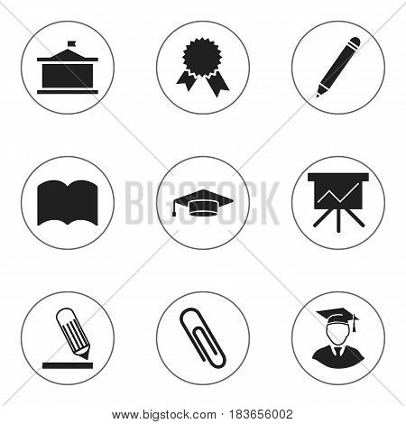Set Of 9 Editable Education Icons. Includes Symbols Such As Chart Board, Graduate, Dictionary And More. Can Be Used For Web, Mobile, UI And Infographic Design.