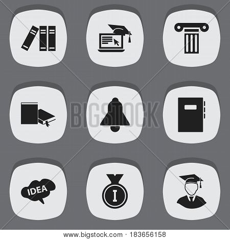 Set Of 9 Editable Science Icons. Includes Symbols Such As Mind, Diplomaed Male, Bookshelf And More. Can Be Used For Web, Mobile, UI And Infographic Design.