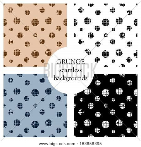 Vector Set Of Seamless Vector Dotted Patterns. Geometric Background With Circles. Grunge Texture Wit