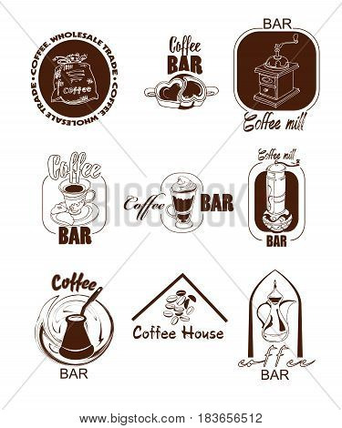 Doodle coffee logos set with bag grinder mill cup jar turk beans and milkshake isolated vector illustration