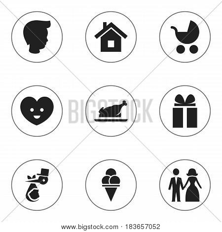 Set Of 9 Editable Relatives Icons. Includes Symbols Such As Fried Chicken, Home, Perambulator And More. Can Be Used For Web, Mobile, UI And Infographic Design.