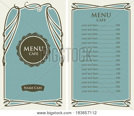 template vector menu for cafe with price list and curlicues in baroque style on green background