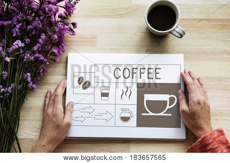 Hand holding banner with Illustration of coffee shop advertisement