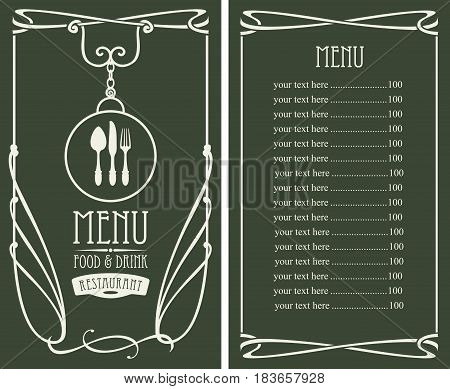 template vector menu for restaurant with price list flatware and curlicues in baroque style on dark background