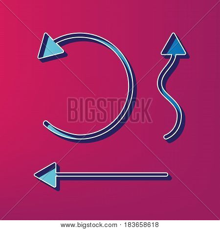 Simple set to Interface Arrows. Vector. Blue 3d printed icon on magenta background.