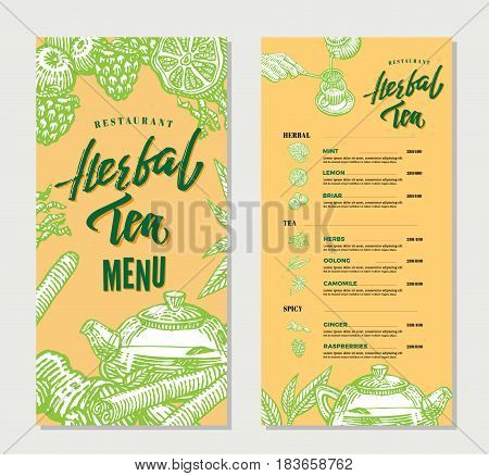 Vintage herbal tea restaurant menu template with hand drawn natural healthy organic ingredients vector illustration