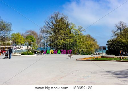 Varna, Bulgaria, April 26, 2017. Central entrance of the Sea Garden in Varna Bulgaria