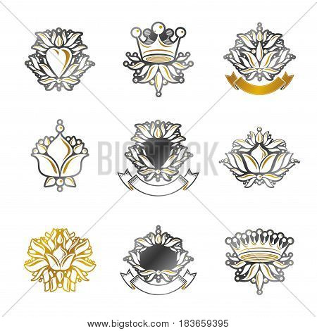 Royal Symbols, Flowers, Floral And Crowns, Emblems Set. Heraldic Vector Design Elements Collection.