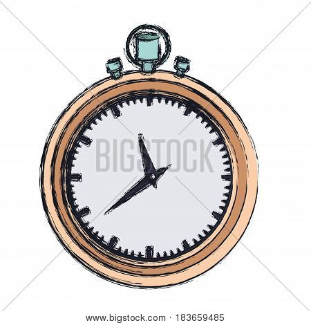 hand drawing color graphic of stopwatch with thick contour vector illustration