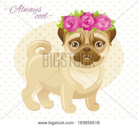 Summer fashion pug puppy dog in sweet clothes. Cartoon vector illustration isolated on white background.