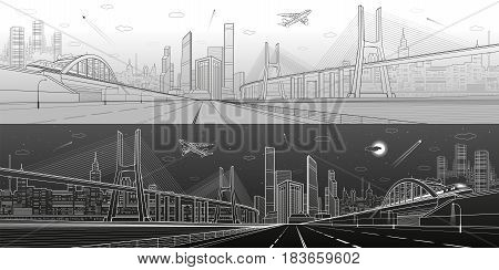 Infrastructure panorama. Large cable-stayed bridge. Train move on the bridge. Airplane fly. Empty highway. Modern city on background, towers and skyscrapers. Day and night version. Vector design art