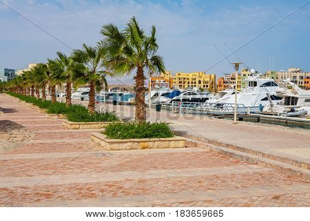 View of promenade at Abu Tig Marina. El Gouna Egypt North Africa