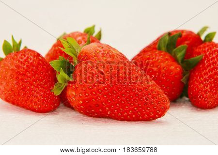 Strawberry fruit isolated white red background bio