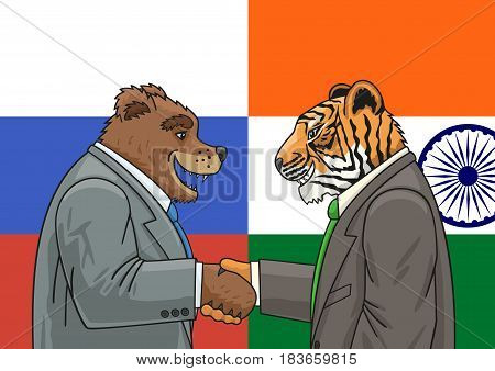 Russian Bear and the Indian Tiger shake hands.
