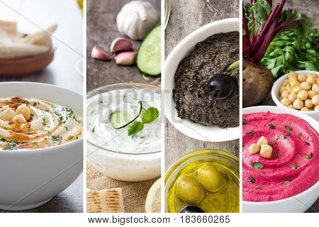 Collage of different asian food hummus, tzatziki and tapenade